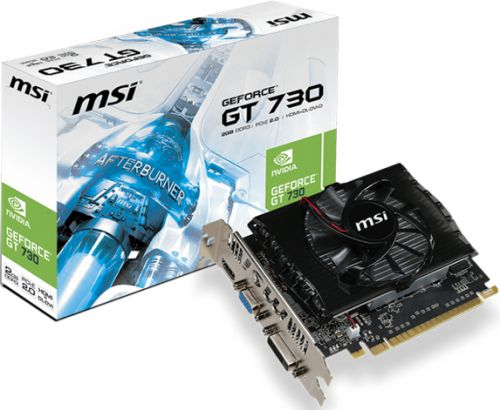 Видеокарта PCI-E MSI N730-2GD3V2 GeForce GT 730 2Gb GDDR3 128bit 28nm 700/1800MHz DVI(HDCP)/HDMI/VGA RTL (N730-2GD3V2)