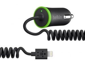 Belkin Coiled Car Charger (hard wired lightning connector), Black F8J074btBLK