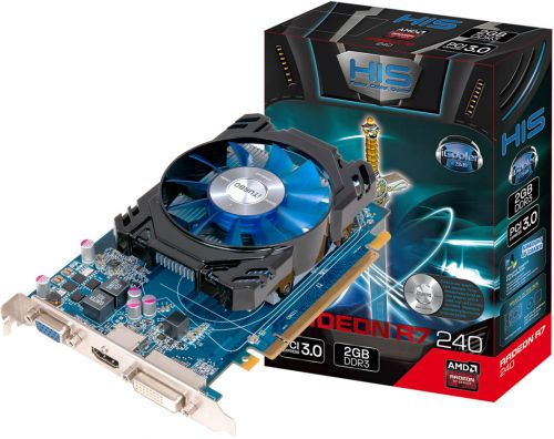 HIS Видеокарта PCI-E HIS R H240F2G AM AMD Radeon R7 240 2GB DDR3 128bit 14nm 1600MHz DVI-D/HDMI/DisplayPort RTL (R H240F2G AM)