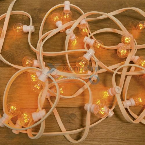 Гирлянда NEON-NIGHT 331-301 LED Galaxy Bulb String 10м, белый каучук, 30 ламп*6 ЖЕЛТЫЕ, влагостойкая IP54