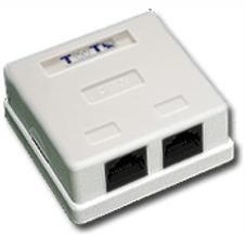 Розетка настенная TWT TWT-SM2-4545/S-WH 2 порта RJ-45 категории 5е, STP, белая