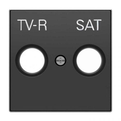 Накладка ABB 2CLA855010A1501 для TV-R-SAT розетки, чёрный бархат накладка abb 2cla851810a1501 для 1 го суппорта разъёма типа 2017 или 2018 со шторками и полем для надписи чёрный бархат