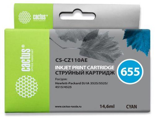 Фото - Картридж Cactus CS-CZ110AE №655 голубой для HP DJ IA 3525/5525/4515/4525 (14.6мл) картридж hp cz102ae 650 цветной dj ia 2615 200стр