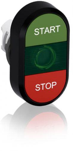 Кнопка ABB 1SFA611133R1102 двойная с текстом START/STOP (зеленая/красная) зеленая линза MPD4-11G
