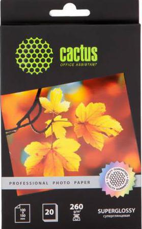 Фотобумага Cactus CS-HGA626020 Professional, суперглянцевая, 10х15, 260 г/м2, 20 листов