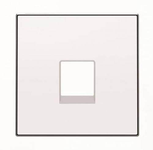 Накладка ABB 2CLA851700A1101 для телекоммуникационных розеток типа 8117... и/или 8118…, альпийский белый накладка abb 2cla851810a1501 для 1 го суппорта разъёма типа 2017 или 2018 со шторками и полем для надписи чёрный бархат