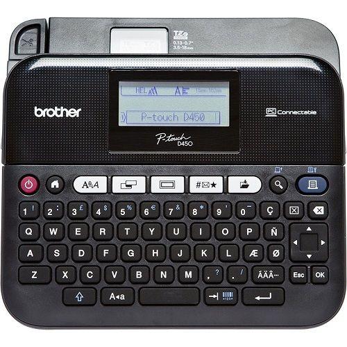 Принтер для печати наклеек Brother PT-D450VP (переносной,авторезак,от 3,5 до 18мм,до 10мм/сек,180x360т/д,кейс+БП,USB)