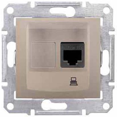 Розетка Schneider Electric SDN4300168 Sedna компьютерная 1-ая RJ45, категория 5e, UTP (титан) (титан)