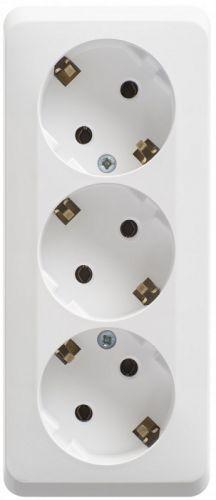 Розетка Schneider Electric PA16-011B 3-ая с/з без шторок 16А 250B белый