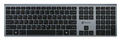 Фото - Клавиатура Oklick 890S WT-1901 серый USB беспроводная slim клавиатура oklick 505m белый usb slim