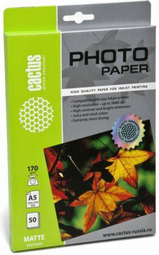 Фото - Фотобумага Cactus CS-MA517050 A5/170г/м2/50л./белая, матовая для струйной печати cactus cs ga520050 a5 200г м2 50л