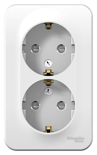 Розетка Schneider Electric BLNRA011211 2-ая с/з со шторками 16А, 250В, изолир. пластина (белый) наруж розетка 2 ая se blanca наруж титан с з со шторками 16а 250в изолир пластина арт se blnra011214