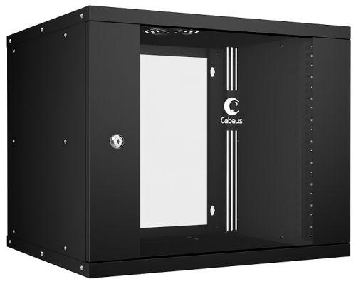Шкаф настенный 19, 9U Cabeus WSC-05D-9U55/45-BK серия LIGHT разборный, дверь стекло, цвет черный