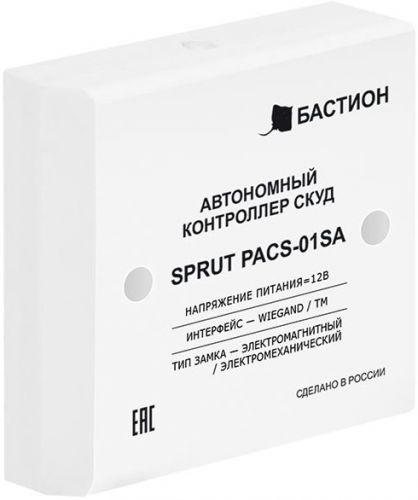 Контроллер Бастион SPRUT PACS-01SA автономный СКУД, память 1000 ключей, интерфейс Touch Memory, Wiegand, 12В, 200мА, пластик