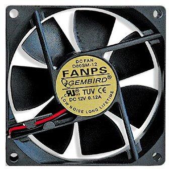 Вентилятор для корпуса Gembird FANPS 80x80x25мм, 2600rpm, 27dBA, 2-pin вентилятор для корпуса gembird d50sm 12as