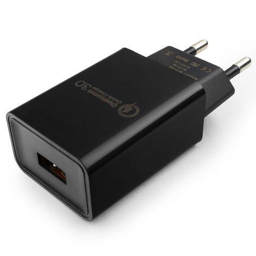 Адаптер питания Cablexpert MP3A-PC-17 QC 3.0, 100/220V-1 USB порт 5/9/12V, черный