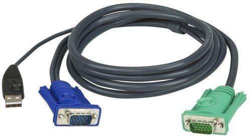 Кабель Aten 2L-5202U мон+клав+мышь USB, SPHD15=>HD DB15+USB A-Тип, Male-2xMale, 8+4 проводов, опрессованный, 1.8 м, черный