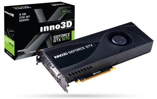 GeForce GTX 1070 Видеокарта PCI-E Inno3D GeForce GTX 1070 8GB GDDR5 256bit 1506/8000MHz DVI-D/HDMI/DisplayPort*3 RTL N1070-2DDN-P5DN