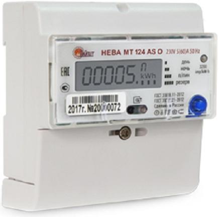 Счетчик электроэнергии Нева 6120468 МТ 124 AS O 5(60) однофазный многотарифный 5(60) класс точности 1.0 D ЖКИ регион 78