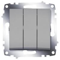 Выключатель ABB 619-011000-254 Cosmo трехклавишный, 10А, 250В, IP20 (алюминий) выключатель abb 619 011000 200 cosmo одноклавишный 10а 250в ip20 алюминий