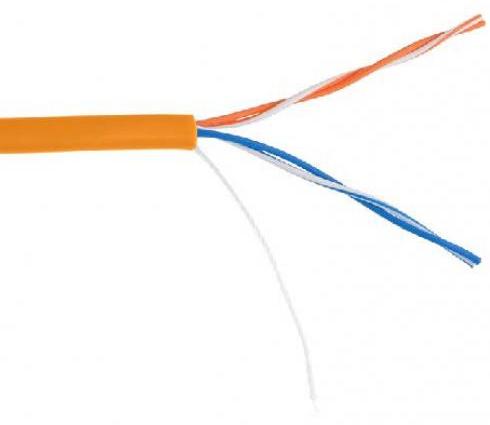 Фото - Кабель витая пара U/UTP 5e кат. 2 пары Netlan EC-UU002-5-LSZH-OR (305м)(Класс D), 100МГц, одножильный, BC (чистая медь), внутренний, LSZH нг(B)-HF, ор кабель витая пара u utp 5e кат 4 пары lanmaster lan 5eutp pt lszh lszh оранжевый 305м в кат