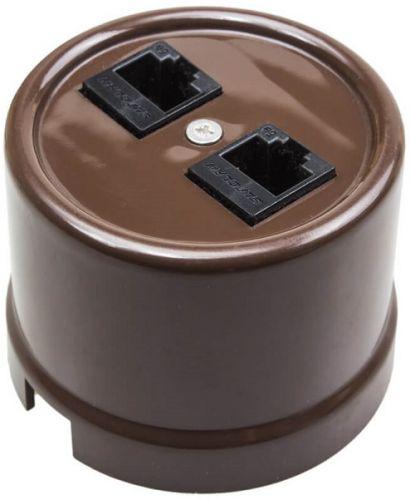 Розетка Bironi B1-303-22 пластик коричневый, компьютерная 1-ая (RJ45) + ТЛФ 1-ая (RJ11)