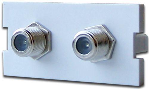 Вставка Lanmaster LAN-MBP-2TV/F-WH модульная с 2-мя F-адаптерами в розетку LAN-MB, белая