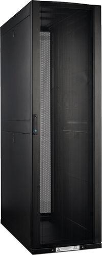 Фото - Шкаф напольный 19, 42U Lanmaster LAN-DC-CBP-42Ux8x12 800x1200 мм, с перфорированными дверьми, без боковых панелей, черный комплект боковых панелей lanmaster lan dc cb 42ux10 sp с замками для шкафа 42u глубиной 1070 мм