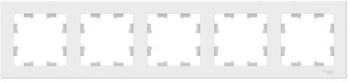 Рамка Schneider Electric ATN000105 AtlasDesign, 5-постовая, универсальная, белая