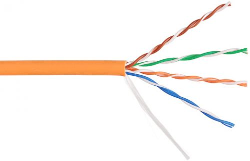 Фото - Кабель витая пара U/UTP 5e кат. 4 пары NIKOLAN NKL 9100C-OR внутренний, LSZH нг(А)-HFLTx, 24 AWG, одножильный, 100МГц, оранжевый, 305м кабель витая пара u utp 5e кат 4 пары lanmaster lan 5eutp pt lszh lszh оранжевый 305м в кат