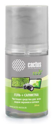 Набор Cactus CS-S3004E (салфетка + гель), для экранов и оптики 1шт 18x18см 200мл