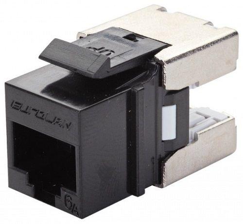 Модуль Eurolan 16B-UA-03BL UTP категории 6A Keystone, черный