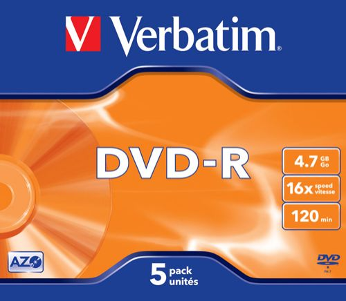 Диск DVD-R Verbatim 43519 4.7ГБ, 16x, 5шт., Jewel Case