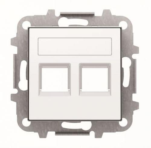 Накладка ABB 2CLA851820A1101 для 2-х суппортов/разъёмов типа 2017... и/или 2018..., со шторками и полем для надписи, альпийский белый накладка abb 2cla851810a1501 для 1 го суппорта разъёма типа 2017 или 2018 со шторками и полем для надписи чёрный бархат