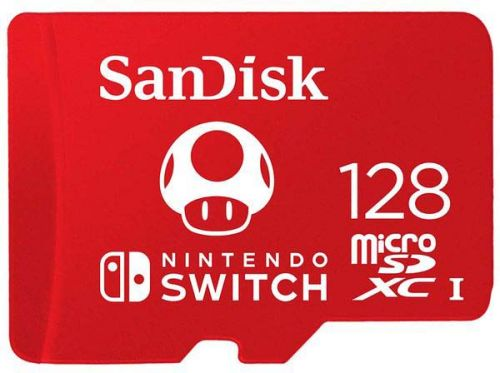 Карта памяти 128GB SanDisk SDSQXAO-128G-GNCZN Nintendo Cobranded microSDXC, SQXAO, V30, U3, C10, A1, UHS-1, 100MB/s R, 90MB/s W, 4x6, Lifetime Limited