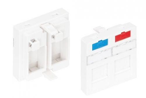 Вставка NikoMax NMC-PM2P-PF-WT типа Mosaic 45x45 мм, 2 порта, под модули-вставки типа KeyStone, со шторками, белая