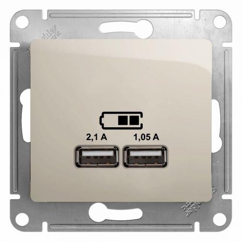 Розетка Schneider Electric GSL000933 GLOSSA, USB, 5В/2100мА, 2х5В/1050мА, механизм, молочный