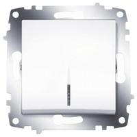 Выключатель ABB 619-010200-201 Cosmo одноклавишный, с подсветкой, 10А, 250В, IP20 (белый) выключатель abb 619 011000 200 cosmo одноклавишный 10а 250в ip20 алюминий