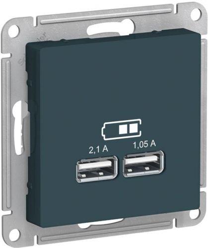 Розетка Schneider Electric ATN000833 AtlasDesign USB, 5В, 1 порт x 2,1 А, 2 порта х 1,05 А, механизм изумруд