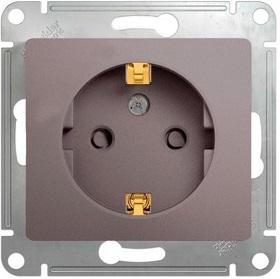Розетка Schneider Electric GSL001245 GLOSSA с заземлением со шторками (платина)