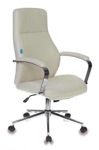Фото - Кресло офисное Бюрократ T-703SL молочный, искусственная кожа, крестовина хром кресло бюрократ ch 605 черное искусственная кожа крестовина металл