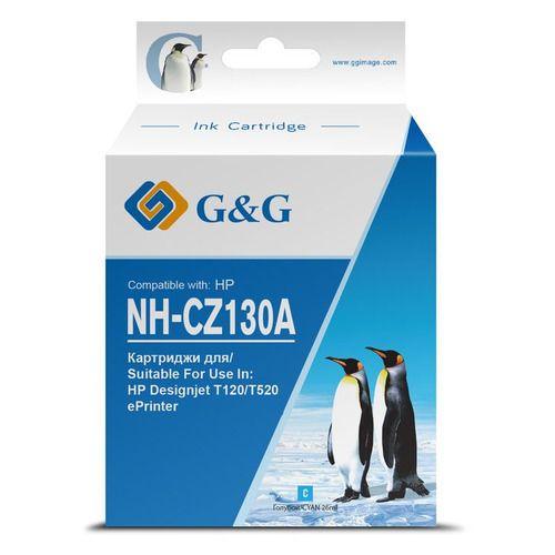 Картридж G&G NH-CZ130A струйный CZ130A голубой (26мл) для HP DJ T120/T520