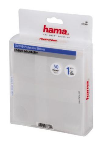 Конверт для CD/DVD HAMA H-33809 00033809 полипропилен 50 шт. прозрачный