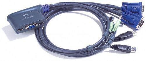 Коммутатор Aten CS62US-A7 2-портовый, USB, VGA, аудио, кабельный, 0.9м