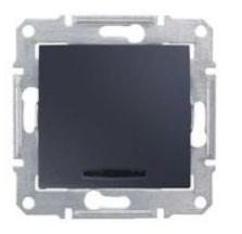 Переключатель Schneider Electric SDN1500270 Sedna 1-клавишный с подсветкой 16А, 250В, IP20 (сх.6а) (графит) переходник старт 6а 250в стакан белый