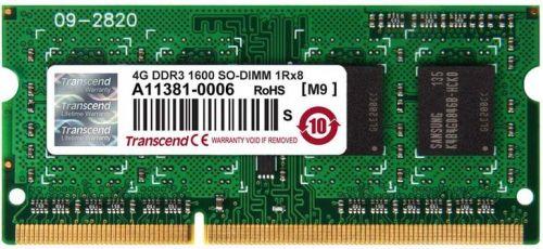 Фото - Модуль памяти SODIMM DDR3 4GB Transcend TS512MSK64V6H PC3-12800 1600MHz 1Rx8 CL11 1.5V модуль памяти qumo 4gb ddr3 1600mhz sodimm 204pin cl11 qum3s 4g1600c11