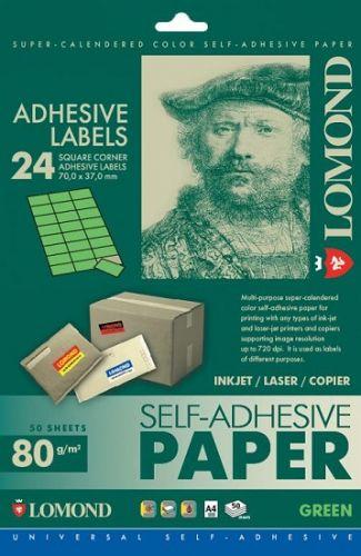 Бумага Lomond 2120165 Самоклеящаяся цветная бумага LOMOND для этикеток, зеленая, A4, 24 делен. (70 x 37 мм), 80 г/м2, 50 листов