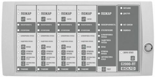 Блок Болид С2000-ПТ индикации и управления пожаротушением, 50 двухцветных индикаторов и 8 системных индикаторов