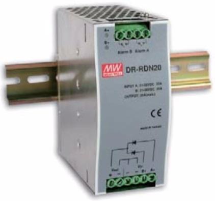 Силовой модуль Mean Well DR-RDN20 резервирующий DC на DIN-рейку для коммутации 24В источников питания. Uвх= 21…28В DC, макс. обратное напряж. выхода 3