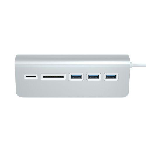 Концентратор Satechi Aluminum USB 3.0 Hub & Card Reader ST-3HCRS 3 порта USB 3.0, слоты для карты памяти SD и microSD, серебряный